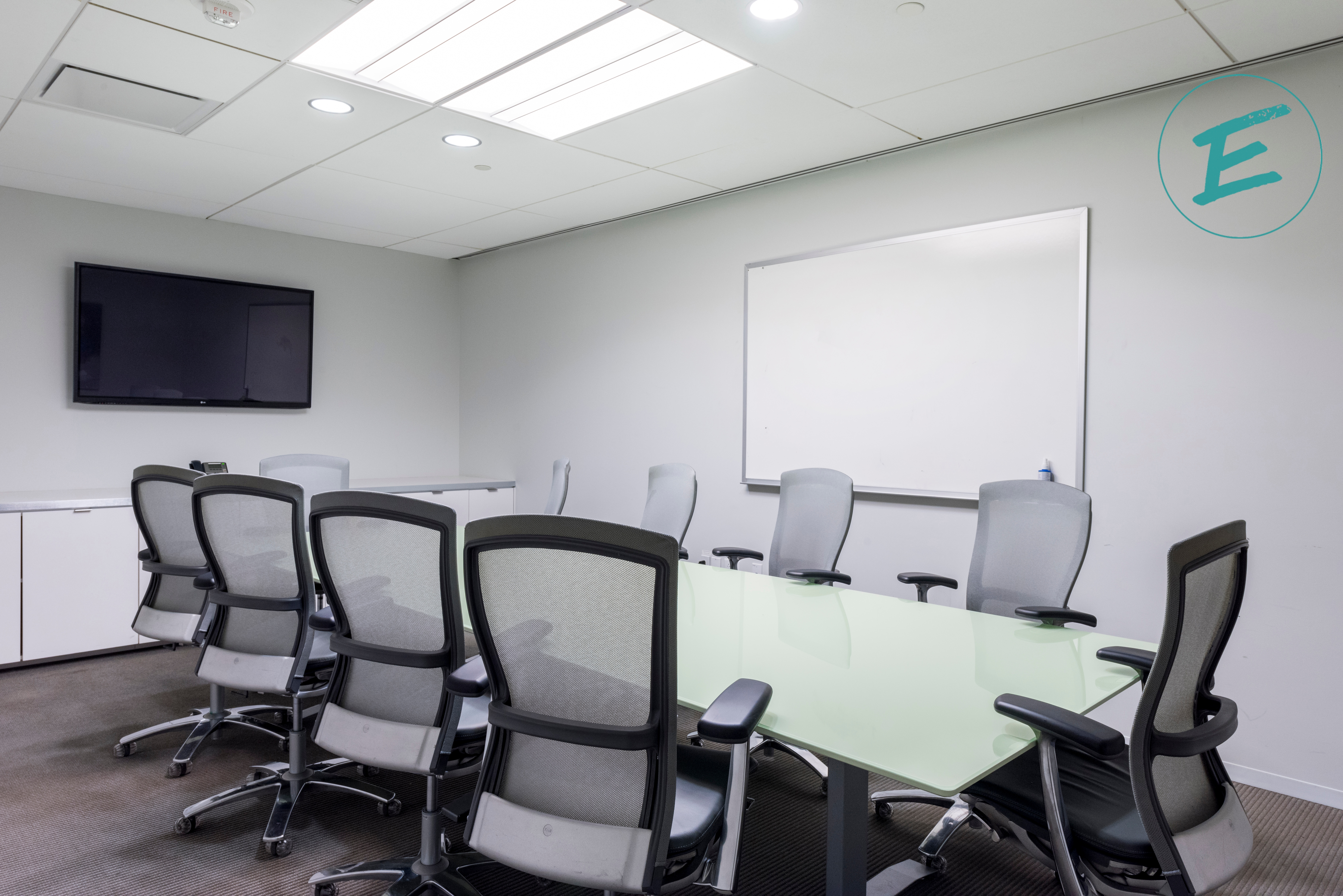 Meeting room with logo